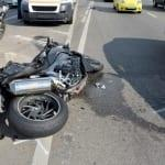 Motorcycle accident on the city road